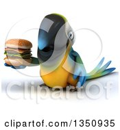 Clipart Of A 3d Blue And Yellow Macaw Parrot Holding A Double Cheeseburger Royalty Free Illustration