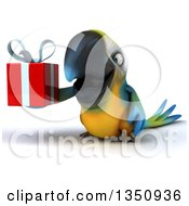 Clipart Of A 3d Blue And Yellow Macaw Parrot Holding A Gift Royalty Free Illustration