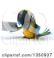 Clipart Of A 3d Blue And Yellow Macaw Parrot Holding An Envelope Royalty Free Illustration