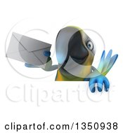 Clipart Of A 3d Blue And Yellow Macaw Parrot Holding An Envelope Over A Sign Royalty Free Illustration