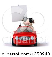 Clipart Of A 3d Sheep Wearing Sunglasses Holding A Blank Sign And Driving A Red Convertible Car Royalty Free Illustration