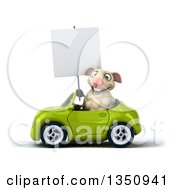 Clipart Of A 3d Sheep Holding A Blank Sign And Driving A Green Convertible Car To The Left Royalty Free Illustration
