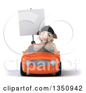 Clipart Of A 3d French Sheep Holding A Blank Sign And Driving An Orange Convertible Car Royalty Free Illustration