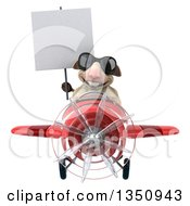 Clipart Of A 3d Sheep Aviator Pilot Wearing Sunglasses Holding A Blank Sign And Flying A Red Airplane Royalty Free Illustration