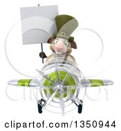 Clipart Of A 3d Irish Sheep Aviator Pilot Holding A Blank Sign And Flying A White And Green Airplane Royalty Free Illustration