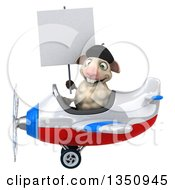 Clipart Of A 3d French Sheep Aviator Pilot Holding A Blank Sign And Flying A White Red And Blue Airplane To The Left Royalty Free Illustration