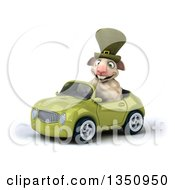 Clipart Of A 3d Irish Sheep Driving A Green Convertible Car To The Left Royalty Free Illustration