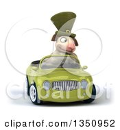 Clipart Of A 3d Irish Sheep Driving A Green Convertible Car Royalty Free Illustration