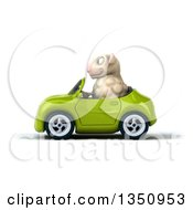 Clipart Of A 3d Sheep Driving A Green Convertible Car To The Left Royalty Free Illustration