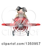 Clipart Of A 3d Sheep Aviator Pilot Wearing Sunglasses Flying A Red Airplane Royalty Free Illustration