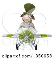 Clipart Of A 3d Irish Sheep Aviator Pilot Flying A White And Green Airplane Royalty Free Illustration