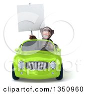 Clipart Of A 3d Chimpanzee Monkey Holding A Blank Sign And Driving A Green Convertible Car Royalty Free Illustration