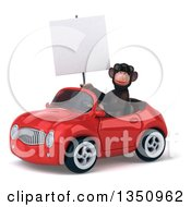 Clipart Of A 3d Chimpanzee Monkey Wearing Sunglasses Holding A Blank Sign And Driving A Red Convertible Car To The Left Royalty Free Illustration