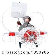 Clipart Of A 3d Chimpanzee Monkey Aviator Pilot Holding A Blank Sign And Flying A White And Red Airplane Royalty Free Illustration