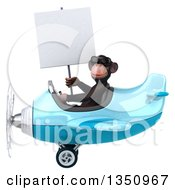 Clipart Of A 3d Chimpanzee Monkey Aviator Pilot Wearing Sunglasses Holding A Blank Sign And Flying A Blue Airplane To The Left Royalty Free Illustration
