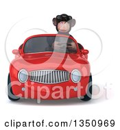 Clipart Of A 3d Chimpanzee Monkey Wearing Sunglasses And Driving A Red Convertible Car Royalty Free Illustration