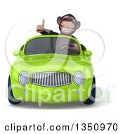 Clipart Of A 3d Chimpanzee Monkey Giving A Thumb Up And Driving A Green Convertible Car Royalty Free Illustration