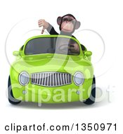 Clipart Of A 3d Chimpanzee Monkey Giving A Thumb Down And Driving A Green Convertible Car Royalty Free Illustration