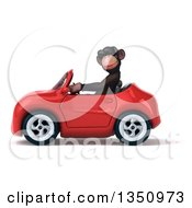 Clipart Of A 3d Chimpanzee Monkey Wearing Sunglasses And Driving A Red Convertible Car To The Left Royalty Free Illustration