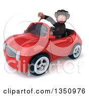Clipart Of A 3d Chimpanzee Monkey Wearing Sunglasses Giving A Thumb Down And Driving A Red Convertible Car To The Left Royalty Free Illustration