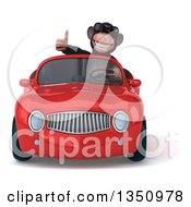 Clipart Of A 3d Chimpanzee Monkey Wearing Sunglasses Giving A Thumb Up And Driving A Red Convertible Car Royalty Free Illustration