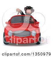 Clipart Of A 3d Chimpanzee Monkey Wearing Sunglasses Giving A Thumb Down And Driving A Red Convertible Car Royalty Free Illustration
