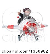 Clipart Of A 3d Chimpanzee Monkey Aviator Pilot Giving A Thumb Up And Flying A White And Red Airplane Royalty Free Illustration