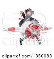 Clipart Of A 3d Chimpanzee Monkey Aviator Pilot Giving A Thumb Down And Flying A White And Red Airplane Royalty Free Illustration
