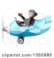 Clipart Of A 3d Chimpanzee Monkey Aviator Pilot Wearing Sunglasses Giving A Thumb Up And Flying A Blue Airplane To The Left Royalty Free Illustration