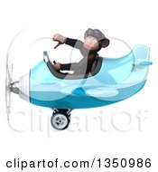 Clipart Of A 3d Chimpanzee Monkey Aviator Pilot Wearing Sunglasses Giving A Thumb Down And Flying A Blue Airplane To The Left Royalty Free Illustration by Julos