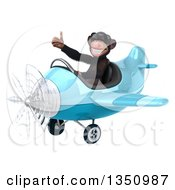 Clipart Of A 3d Chimpanzee Monkey Aviator Pilot Wearing Sunglasses Giving A Thumb Up And Flying A Blue Airplane To The Left Royalty Free Illustration by Julos