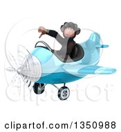 Clipart Of A 3d Chimpanzee Monkey Aviator Pilot Wearing Sunglasses Giving A Thumb Down And Flying A Blue Airplane To The Left Royalty Free Illustration