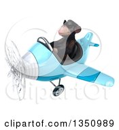 Clipart Of A 3d Chimpanzee Monkey Aviator Pilot Wearing Sunglasses And Flying A Blue Airplane To The Left Royalty Free Illustration