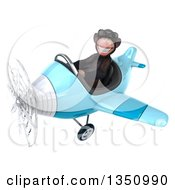 Clipart Of A 3d Chimpanzee Monkey Aviator Pilot Wearing Sunglasses And Flying A Blue Airplane To The Left Royalty Free Illustration by Julos