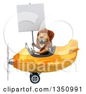 Clipart Of A 3d Male Lion Aviator Pilot Holding A Blank Sign And Flying A Yellow Airplane To The Left Royalty Free Illustration by Julos