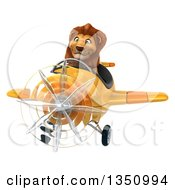 Clipart Of A 3d Male Lion Aviator Pilot Flying A Yellow Airplane To The Left Royalty Free Illustration by Julos