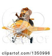 Clipart Of A 3d Male Lion Aviator Pilot Giving A Thumb Up And Flying A Yellow Airplane Royalty Free Illustration by Julos