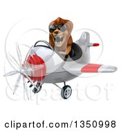 Clipart Of A 3d Male Lion Aviator Pilot Wearing Sunglasses And Flying A White And Red Airplane To The Left Royalty Free Illustration by Julos