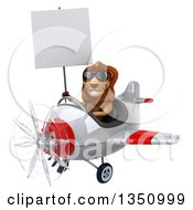 Clipart Of A 3d Male Lion Aviator Pilot Wearing Sunglasses Holding A Blank Sign And Flying A White And Red Airplane To The Left Royalty Free Illustration by Julos