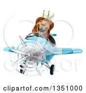 Clipart Of A 3d Male Lion King Aviator Pilot Flying A Blue Airplane Royalty Free Illustration by Julos