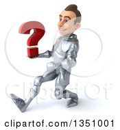 Clipart Of A 3d Caucasian Male Armored Knight Holding A Question Mark And Speed Walking To The Left Royalty Free Illustration