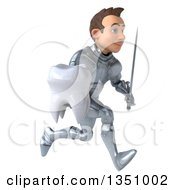 Clipart Of A 3d Caucasian Male Armored Knight Holding A Sword And Tooth Sprinting To The Right Royalty Free Illustration