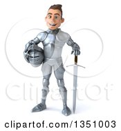 Clipart Of A 3d Caucasian Male Armored Knight Holding His Helmet And Standing With A Sword Royalty Free Illustration