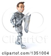 Clipart Of A 3d Caucasian Male Armored Knight Holding A Shield Sword And Walking To The Right Royalty Free Illustration