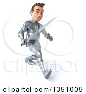 Clipart Of A 3d Caucasian Male Armored Knight Holding A Sword And Speed Walking To The Right Royalty Free Illustration