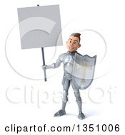 Clipart Of A 3d Caucasian Male Armored Knight Holding A Shield And Blank Sign Royalty Free Illustration