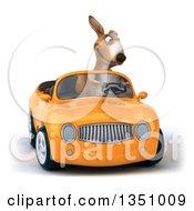 Clipart Of A 3d Kangaroo Driving An Orange Convertible Car Royalty Free Illustration