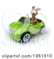 Clipart Of A 3d Kangaroo Giving A Thumb Up And Driving A Green Convertible Car To The Left Royalty Free Illustration
