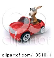 Clipart Of A 3d Kangaroo Wearing Sunglasses And Driving A Red Convertible Car To The Left Royalty Free Illustration