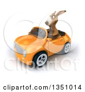 Clipart Of A 3d Kangaroo Driving An Orange Convertible Car To The Left Royalty Free Illustration by Julos